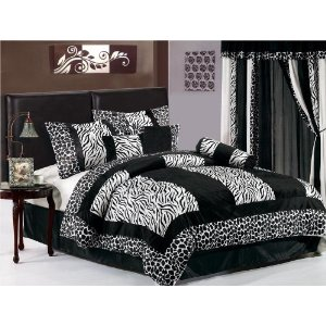 7 Pieces Zebra / White Giraffe Comforter Bedding Set / Bed-in-a-bag KING Size